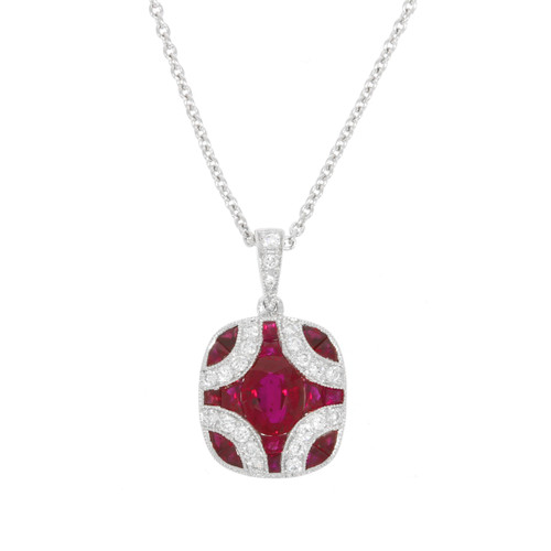 18K White Gold Ruby Pendant with Diamond Accents