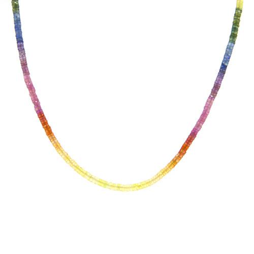 Rondelle Rainbow Sapphire Bead Necklace