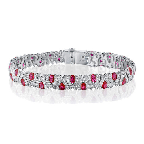 14K White Gold, Ruby and Diamond Bracelet