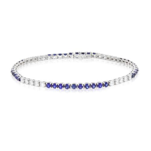 14K White Gold Blue Sapphire and Diamond Tennis Bracelet