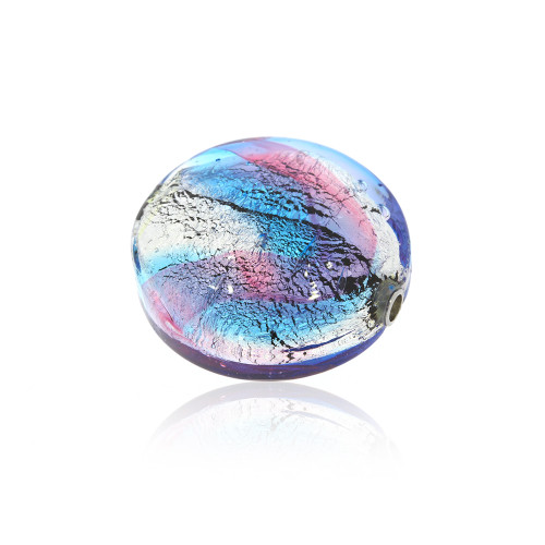 Small Round Disc Pink, Blue and Silver Foil Murano Glass Vario Key Bead