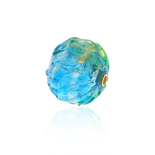 Round Textured Blue, Green and Gold Foil Murano Glass Vario Key Bead