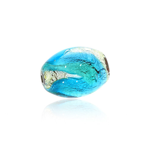 Small Elongated Blue and Silver Foil Murano Glass Vario Key Bead