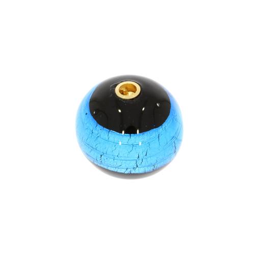 Small Black and Blue Round Murano Glass Vario Key Clasp