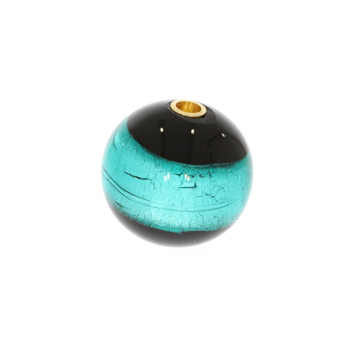 Small Black and Teal Round Murano Glass Vario Key Clasp
