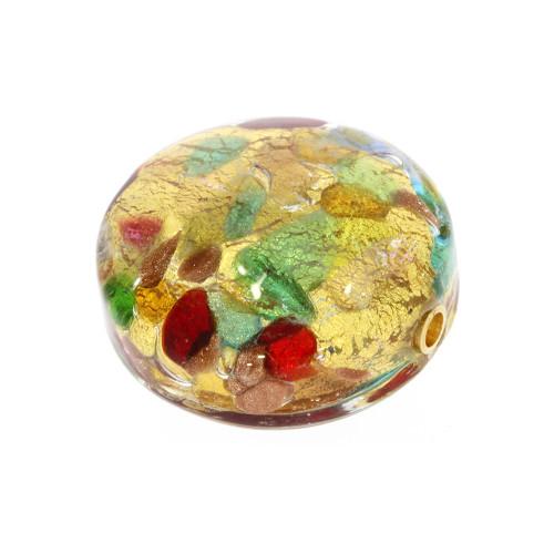 Medium Gold, Green and Red Round Murano Glass Vario Key Clasp