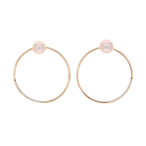 18K Rose Gold Pearl Hoop Earrings With Diamond Accents