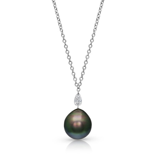 14K White Gold Tahitian Drop Pearl and Pear Shape Diamond Necklace