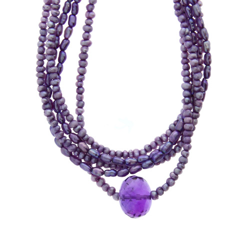 Sterling Silver Faceted Amethyst Center Necklace With Purple Pearl Beads