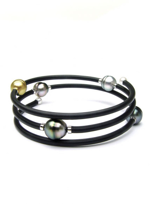 Sterling Silver Memory Wrap Pearl Bracelet With Multi-color Pearl Accents