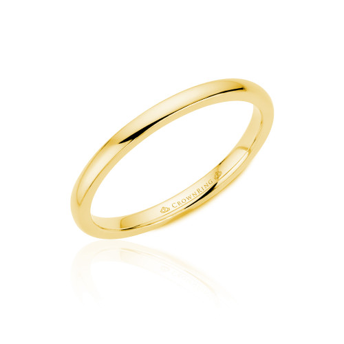 14K Yellow Gold Domed Plain Wedding  Rings