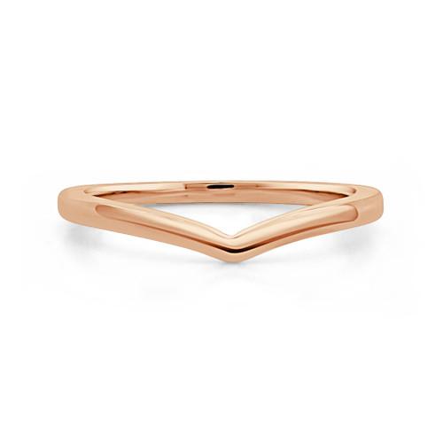 14K Rose Gold V Shaped Stackable Wedding Ring