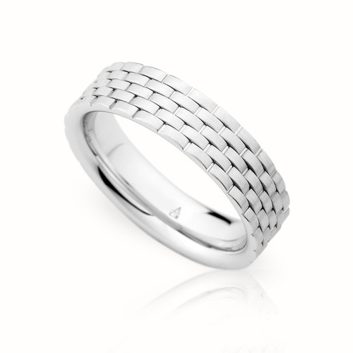 Palladium 8mm Woven Wedding Ring
