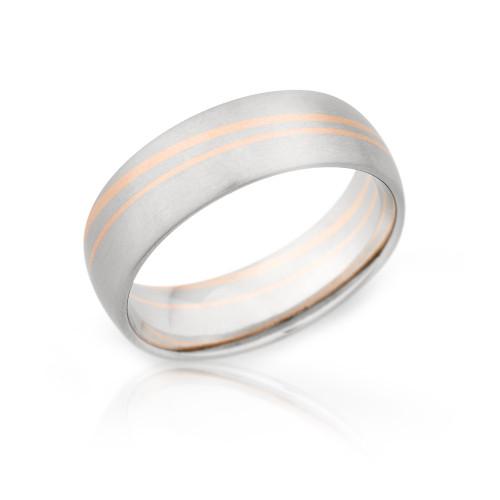 14K Rose Gold and Palladium 7mm Wedding Ring