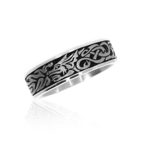 14K White Gold Guardian Dragon Wedding Band