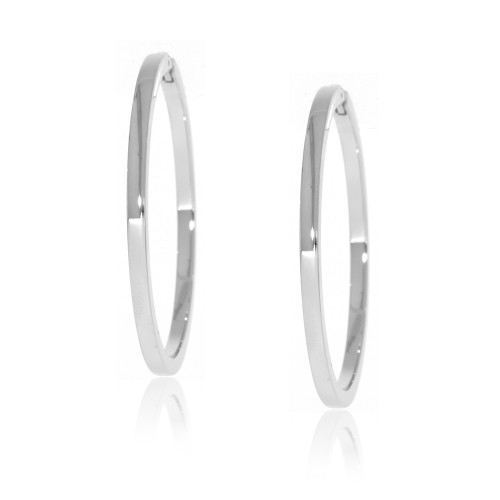 14K White Gold Flat Hoop Earrings