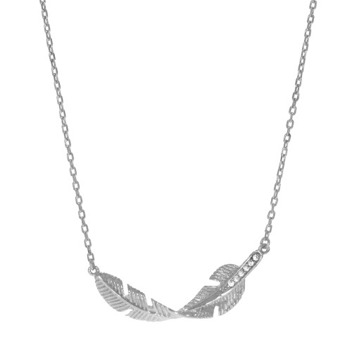 Sterling Silver Feather Necklace With CZ Accents
