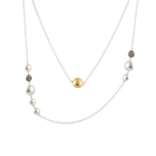 Sterling Silver With Yellow Gold Overlay Gurhan Lentil Station Necklace With Diamond Accents
