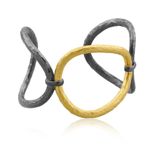 Oxidized Sterling Silver With 24K Yellow Gold Overlay Cuff Bracelet