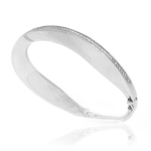 Sterling Silver Twist Bangle with White Sapphire Accents