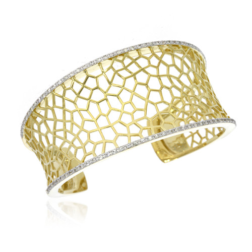 Sterling Silver With Yellow Gold Overlay Open Work Cuff Bracelet With White Sapphire Accented Edges