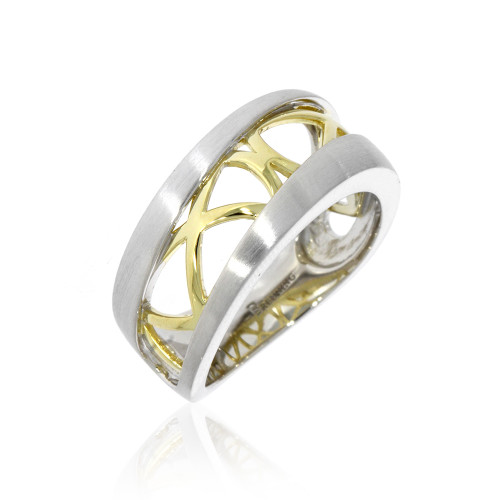 Sterling Silver With Yellow Gold Overlay Criss Cross Pattern Ring