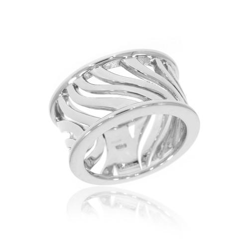 Sterling Silver Zebra Stripe Ring