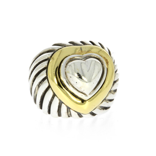 Sterling Silver and 18K Yellow Gold David Yurman Domed Cable Heart Ring