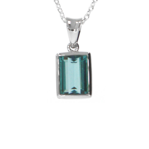 Sterling Silver and Green Tourmaline Pendant