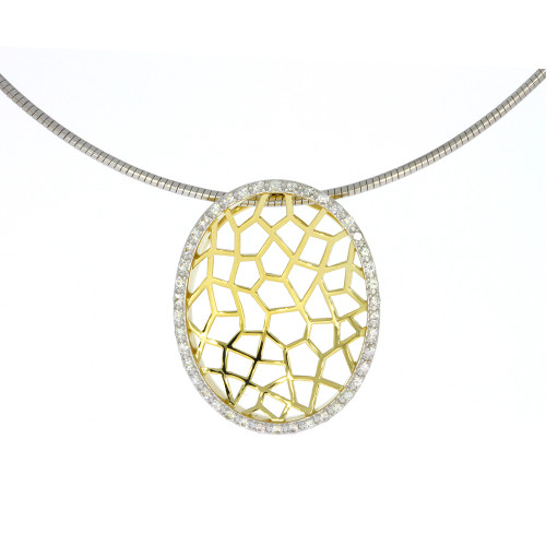 Sterling Silver With Yellow Gold Overlay Oval Open Work Pendant With White Sapphire Accented Halo