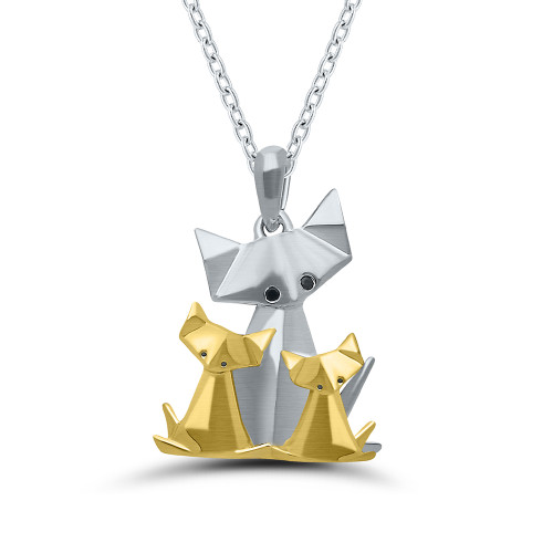 Sterling Silver With Yellow Gold Overlay Origami Cat and Kittens Pendant