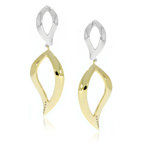 Sterling Silver With Yellow Gold Overlay Dangle Cut Out Leaf Earrings With White Sapphire Accents