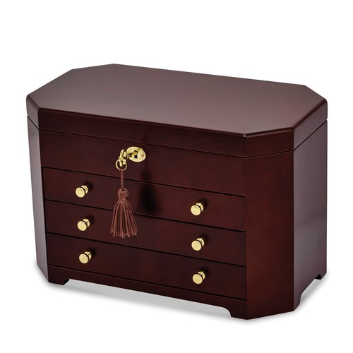 Matte Mahogany Veneer Jewelry Box