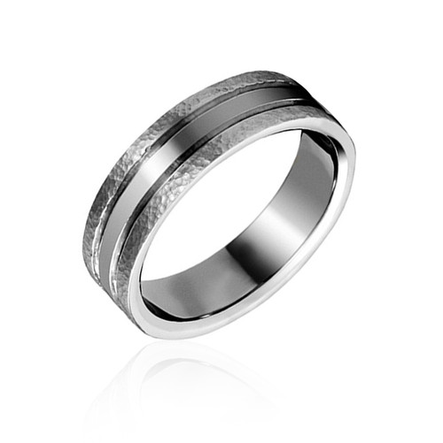Textured Stainless Steel Wedding Ring