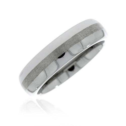 Tungsten Satin Center Wedding Ring