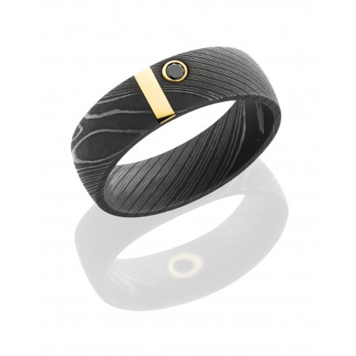 Damascus Steel and 14K Yellow Gold Wedding Ring with Diamond Accent