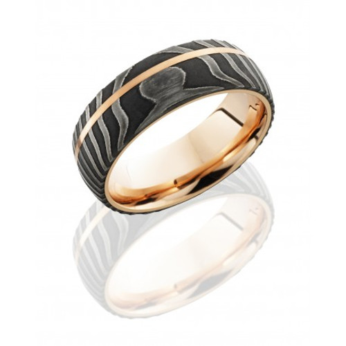 Damascus Steel 8mm Domed Wedding Ring With Rose Gold Inlay