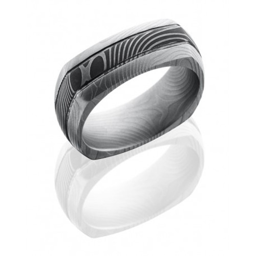 Damascus Steel 8mm Domed Eurosquare Wedding Ring