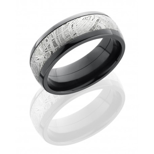 Zirconium 8mm Domed Wedding Ring with Meteorite Inlay