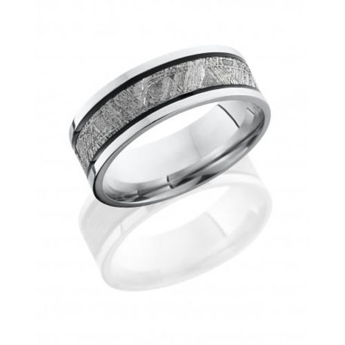 Cobalt Chrome 7.5mm Wedding Ring with Meteorite Inlay Center and Two Antiqued Grooves