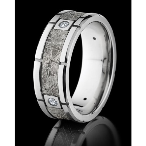 Cobalt Chrome 7mm Wedding Ring with Meteorite Inlay Center and Diamond Accents