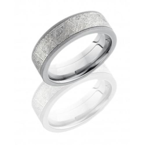 14K White Gold 7mm Flat Wedding Ring with Meteorite Inlay