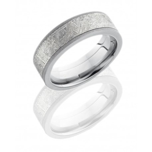14K White Gold 7mm Flat Wedding Ring with Meteorite Inlay