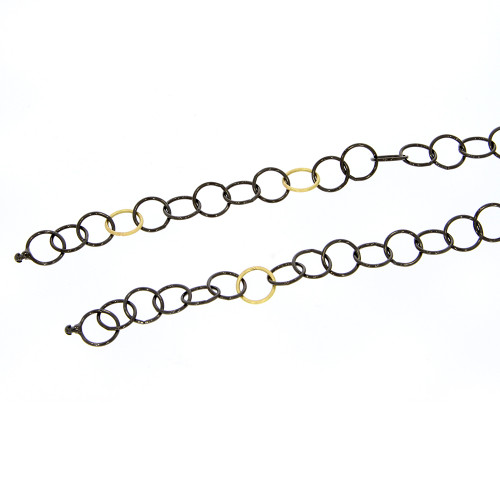Grey PVD Coated Stainless Steel and 3 18K Yellow Gold Round Link Vario Key Chain - 27.5""