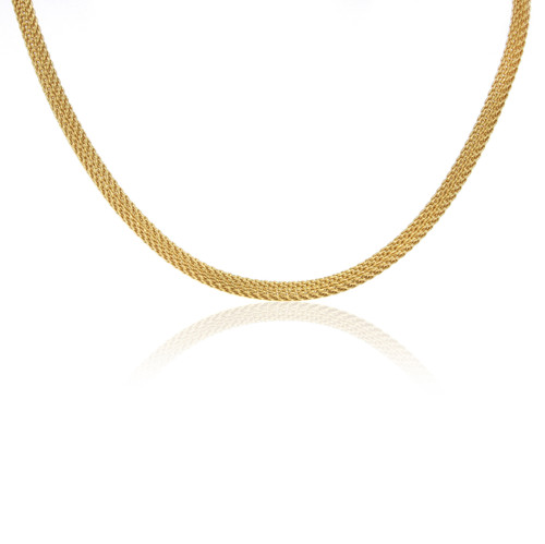 """Yellow Gold Plated Woven Stainless Steel Vario Key Neck Wire - 16.5"""""""