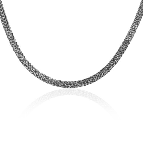 """Stainless Steel Necklace With White Gold Plated Keys- 18"""", 8.0mm"""