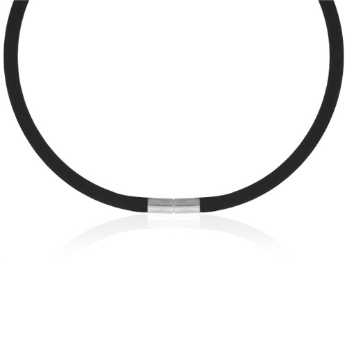 """Rubber Necklace With White Gold Plated Clasp - 16"""""""