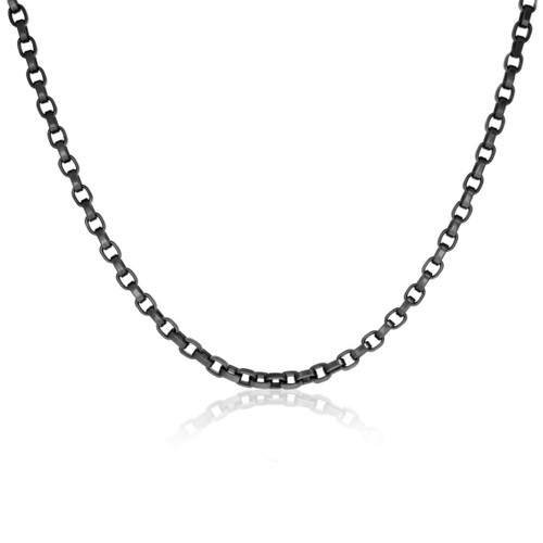 """Black PVD Stainless Steel Square Chain Link Necklace - 17"""", 4.5mm"""