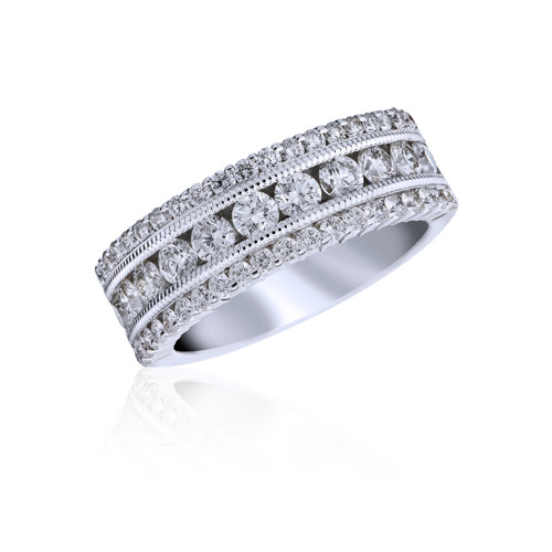 18K White Gold Statement 3 Row Diamond Ring