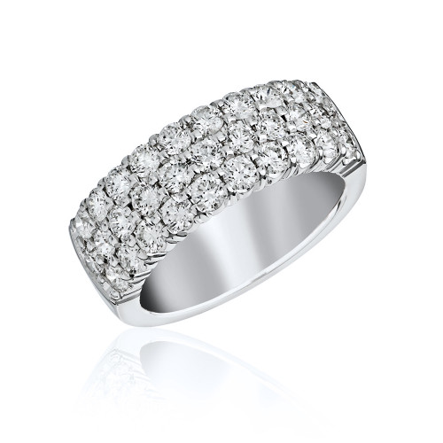 18K White Gold Large 3 Row Diamond Ring
